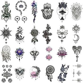 Amazon Com Everjoy India Mehndi Temporary Tattoos 24 Pcs Mandala Henna Sanskrit Lotus Tribal Religious Body Art Stickers For Adults Women Men Kids Boys And Girls Beauty