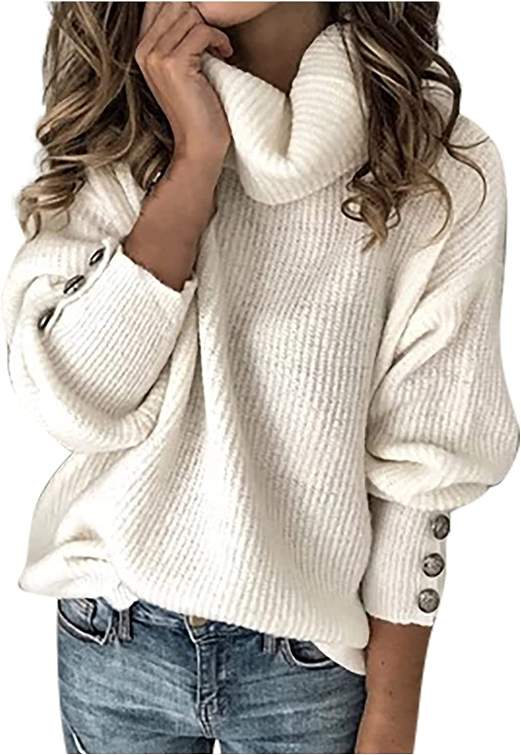 Sweaters for Women Turtle Neck Button Long Sleeve Knitted Solid Color Oversized Fall Plus Size Loose Tops Pullover Jumper