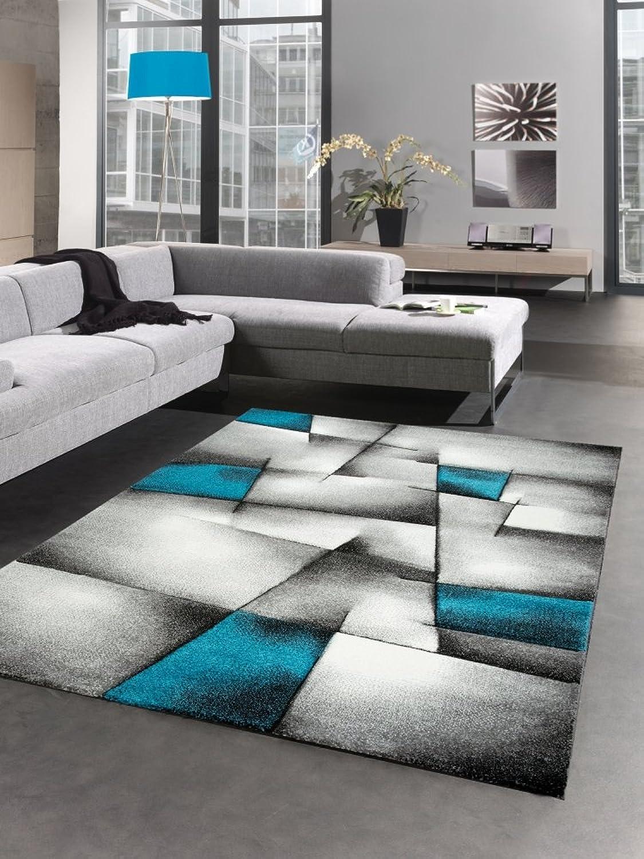 CARPETIA Moderner Teppich Kurzflor Wohnzimmerteppich Konturenschnitt karo abstrakt grau schwarz Weiss türkis Gre 120x170 cm