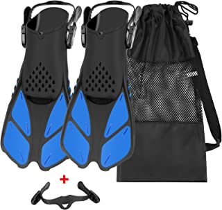 QKURT Snorkel Fins, Swimming Fins with Adjustable Buckles Open Heel, Diving Flippers for Men Women Youth Travel Size Short...