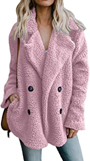 Womens Fleece Fashion Open Front Cardigan Coat Jacket with Pockets Outwear Warm Winter