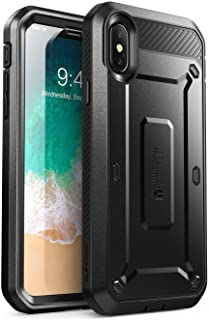 iPhOne Xs/iPhone X Case, SUPCASE Full-body Rugged Holster Case with Built-in Screen Protector Black