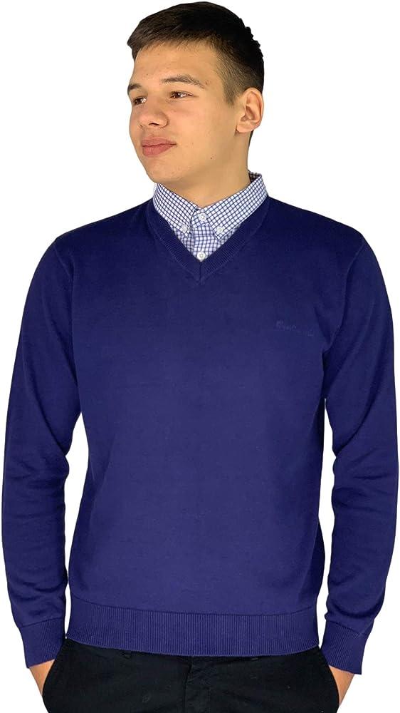 Pierre cardin, maglione lavorato a maglia, con scollo a v, e inserto con il colletto di camicia MA027378