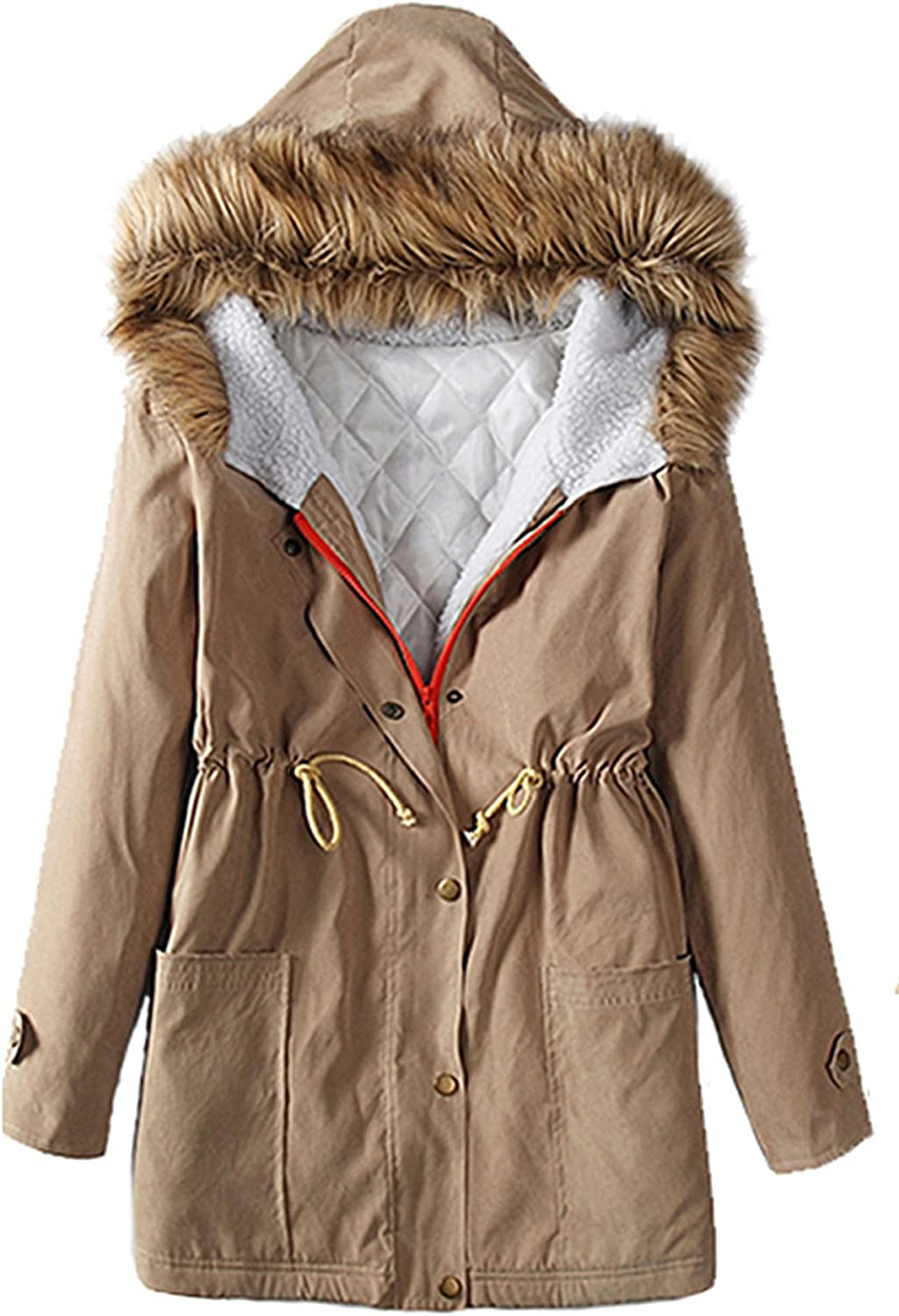 Allonly Women's Cotton Drawstring Waist Thicken Coat Overcoat With Faux Fur Hood