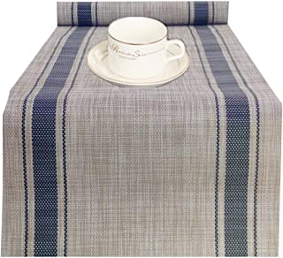 WANGCHAO Compatible Placemats Table Runner, 1 Piece 14x71 Crossweave Woven Vinyl Table Runner Easy to Clean Indoor/Outdoor Table Runner (Navy Blue Table Runner)