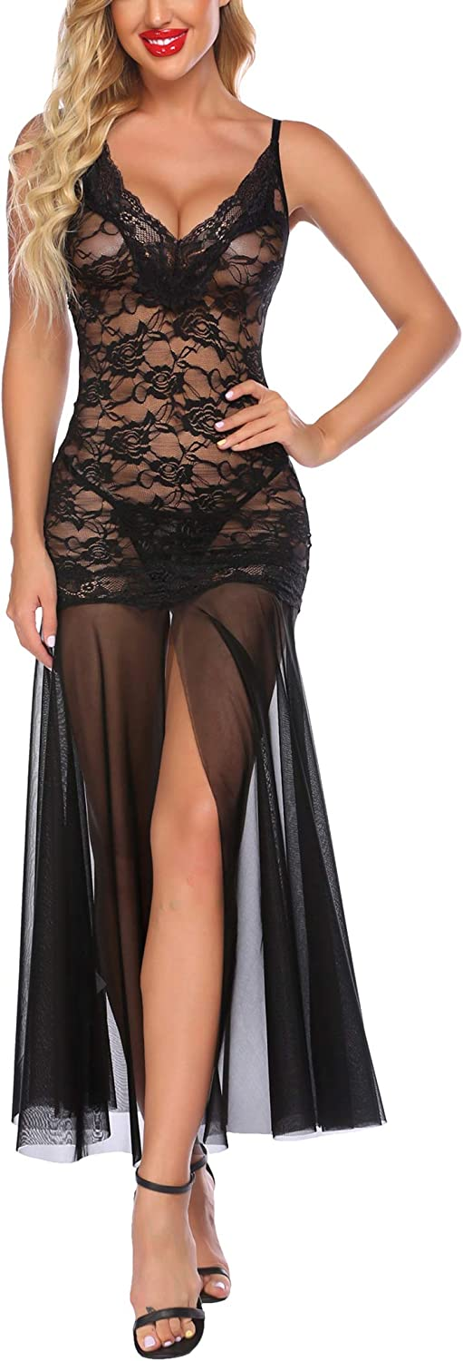 Avidlove Women Long Gown Lingerie V Neck Mesh Chemise Lace Sheer Gown Sexy Boudoir Outfits