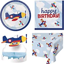 Olive Occasions Lil' Flyer Airplane Disposable Paper Party Happy Birthday Supplies 16 Cake Plates, 16 Lunch Napkins, Table Cover, Centerpiece and Recipe by Grandma Olive