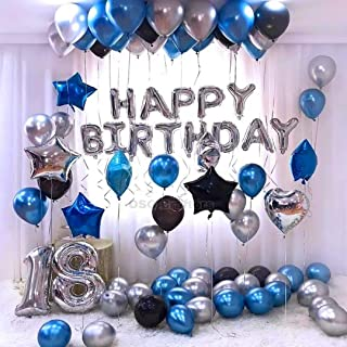 OSG Crafters Happy Birthday Letter Foil Balloon Set of Silver + Pack of 60 HD Metallic Balloons (Blue, Black and Silver)
