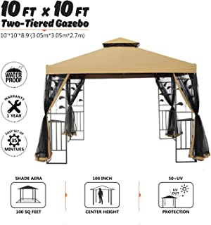 Suna Outdoor 10x10 Ft Outdoor Gazebo Steel Frame Two-Tiered Top Canopy, Leaf Screen Decor Gazebo with Adjustable Netting for Garden Backyard, Beige