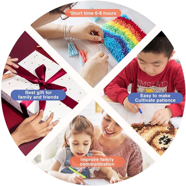 Ur HQCC Kit de Ganchos para alfombras con Ganchillo Manualidades de Costura con patr/ón de b/úho en 3D Kits de Bricolaje para Adultos//ni/ños 52 x 42 cm,A