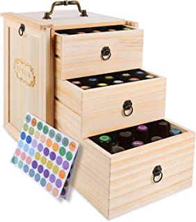 3 Tier Essential Oil Box Wooden Storage Case With Handle Holds for 75 Bottles & Roller Balls Essential Oil Space Saver Free EO Labels