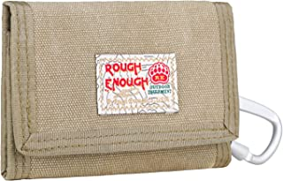 Rough Enough Travel Khaki Small Canvas Boys Kids Wallet for Boys with Zipper Coin Purse with ID window Women Credit Card Front Holder Front Pocket Wallet Cases Organizer in Casual