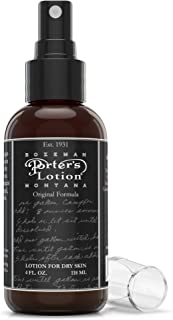 Porters Lotion Original Formula - Lotion for Dry Skin - 4 oz - Natural Moisturizer Spray for Hands and Body - Witch Hazel, Rosemary, Camphor Oil, Green Soap - Relief That Works on all skin types