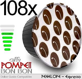 Caffe POMPEII - BON BON - Dolce Gusto Nescafe Compatible Coffee Espresso Capsules (PENELOPE Espresso, 108 capsules)
