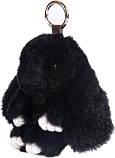 YISEVEN Stuffed Bunny Keychain Toy - Soft Fuzzy Large Stitch Plush Rabbit Fur Key Chain - Cute Fluffy Bunnies Floppy Furry Animal Easter Basket Stuffers Gifts Women Bag Charm Car Pendant- Black Bean
