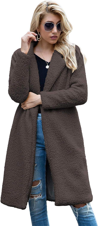 Snhpk Women Teddy Fleece Furry Open Front Cardigan Coat Jacket, Long Maxi Faux Fur Moto Warm Winter Fuzzy Outwear,Brown,L