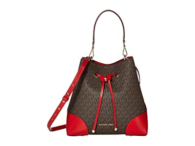 MICHAEL Michael Kors Mercer Gallery Medium Convertible Bucket Shoulder (Brown/Bright Red) Shoulder Handbags