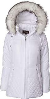 Sportoli Women's Midlength Quilted Trim Down Alternative Plush Lined Puffer Coat with Zip-Off Fur Trim Hood