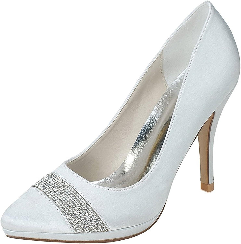 Uerescha Women's Pointed Toe Satin Pumps Rhinestones Stiletto High Heels Wedding Bridal shoes