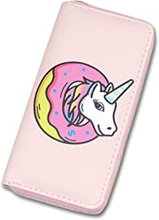 Women's Long Zipper Wallet Leather Print Unicorn,Ladies Clutch Purse