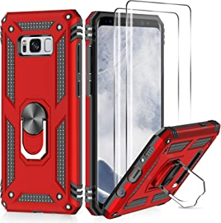 Samsung Galaxy S8 Case with 3D PET Screen Protector [2 Pack], LeYi [Military Grade] Magnetic Car Ring Holder Mount Kickstand Shock Absorption Defender Protective Phone Case for Samsung S8 JSFS Red