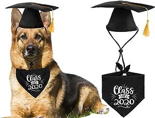JPB Dog Graduation Cap with Yellow Tassel and Class of 2020 Pet Graduation Bandana