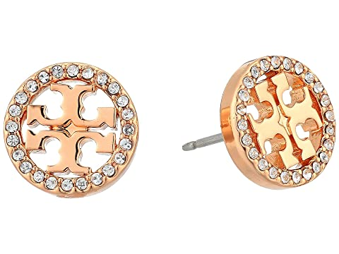 fda53c981ba3 Tory Burch Crystal Logo Circle-Stud Earrings at Zappos.com