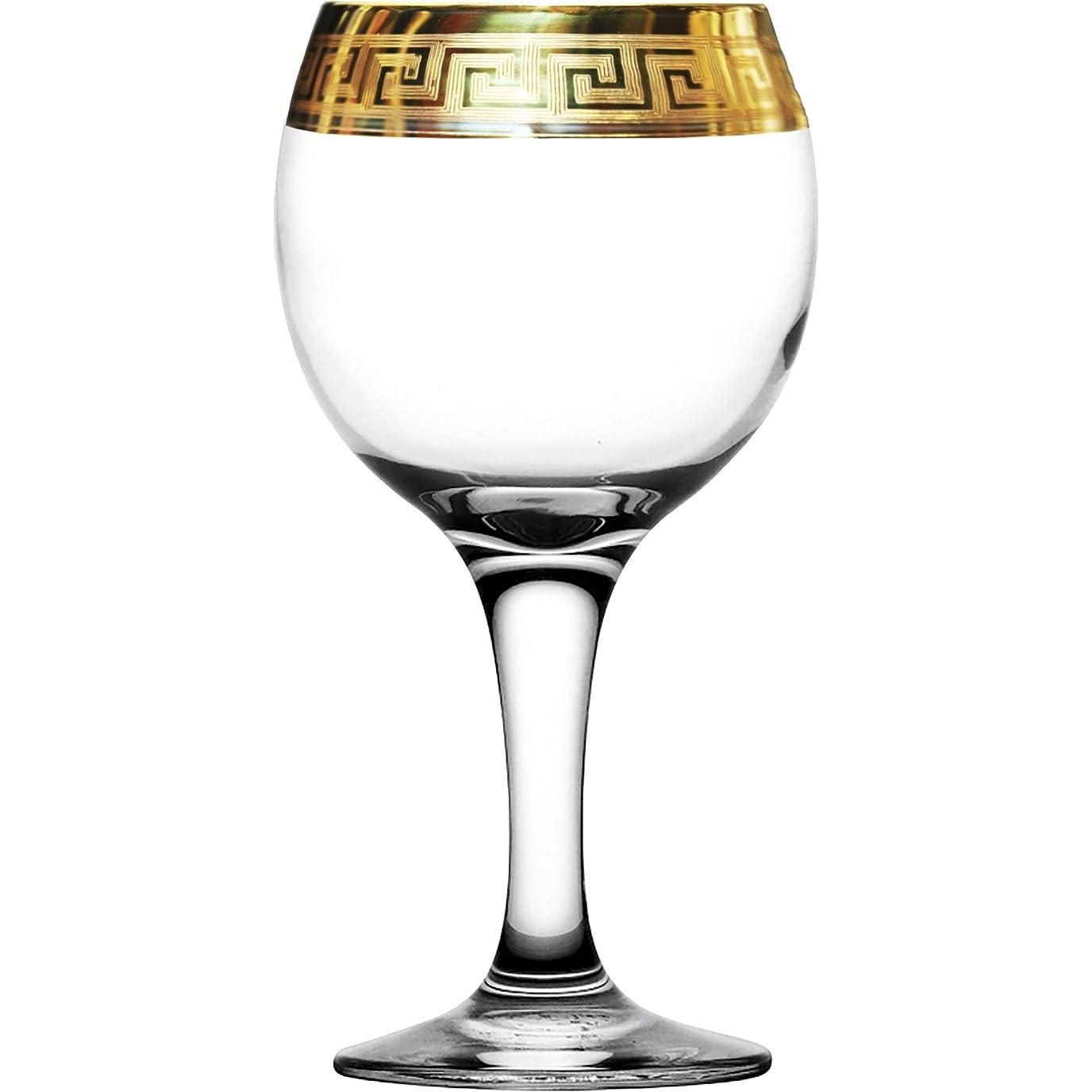 シンプルさ入力メタルラインクリスタルガラスワイングラス8オンス。/250ml。ゴールドメッキセットの6レッド、ホワイト、シャンパン、水Glasses Engravedヴィンテージギリシャデザインクラシックステムゴブレット