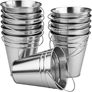 Kicko Large Galvanized Metal Buckets Bulk - 12 Pack - with Handle 5 X 4.5 Inches - Unique Goody Baskets, for Party Favors,...