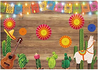 Funnytree 7X5ft Mexican Fiesta Theme Photography Backdrop Mexico Cactus Guitar Party Background Cinco de Mayo Colorful Fla...