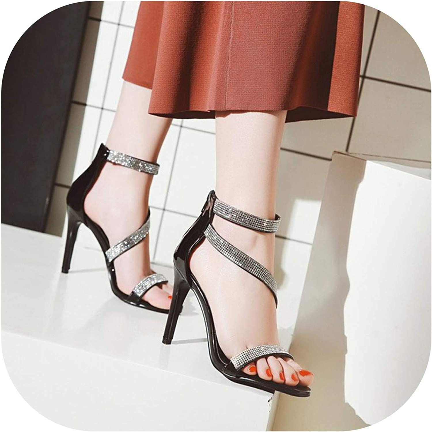Summer Sexy Open Toe High Heel Sandals Womens Fashion Crystal Zipper Fine Heel Roman shoes