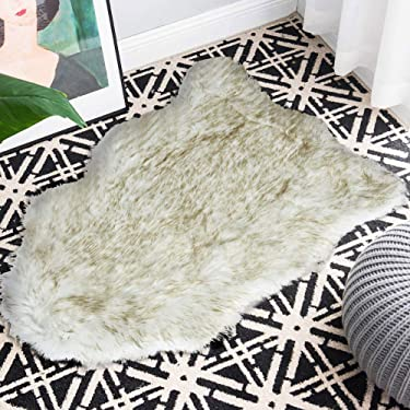 Carvapet Fluffy Shaggy Soft Faux Sheepskin Fur Area Rugs Floor Mat Chair Sofa Cover Beside Carpet for Bedroom Living Room 2x3 ft, White with Brown Tips