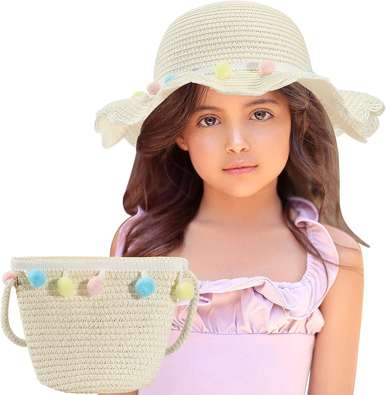 Superior Cheap mail order shopping Echolife Girls Straw Hat Woven Pocket Beach Bag Flopp Set Summer