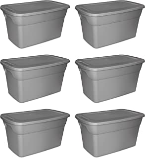 STERILITE 30 Gallon Heavy Duty Stackable Storage Tote, Hazelwood Taupe
