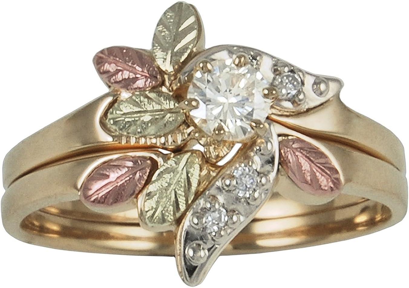 Diamond Wedding Band Set, 10k Yellow Gold, 12k Green and Rose Gold Black Hills Gold Motif (.21 Ctw)