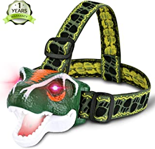 Lamibaby LED Headlamp Headlight - T-Rex Dinosaur Headlamp flashlight for Kids   Realistic Roar Sounds   Toy Head Lamp for Camping, Hiking, Reading, Parties