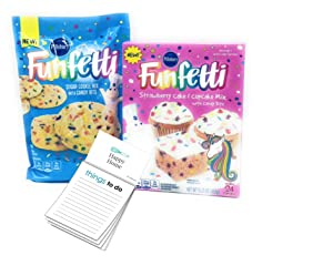 1xPillsbury Funfetti Unicorn Cake Mix| 1x Pillsbury Sugar Cookie Mix with Candy Bits| 1xHappy Home 50 page Magnetic Things to do Notepage