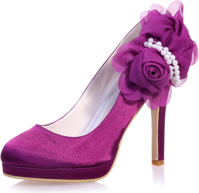 Elobaby Frauen-Hochzeits-Schuh-Blaumen-Satin-Fall-Pumpen geschlossene Zehe runde Zehe 11cm Ferse