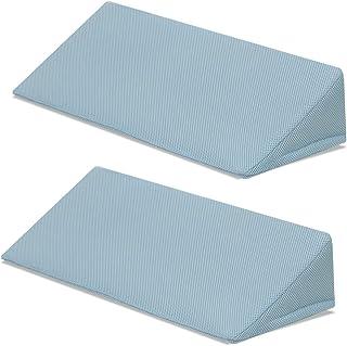 日本製 介護用三角クッション 2個セット メッシュタイプ 【ライトブルー】 介護用品 床ずれ防止クッション 高密度 体位サポート 体位変換 耐圧分散 洗える カバー