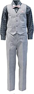 Vittorino Boy's Linen Look 4 Piece Suit Set with Vest Pants Shirt and Tie