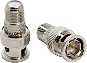 F to BNC Connector, 2-Pack RFAdapter BNC Male Plug to F Female Jack Coax Adapter 75 Ohm, RG6, RG59 Connector for Scanner, Camera