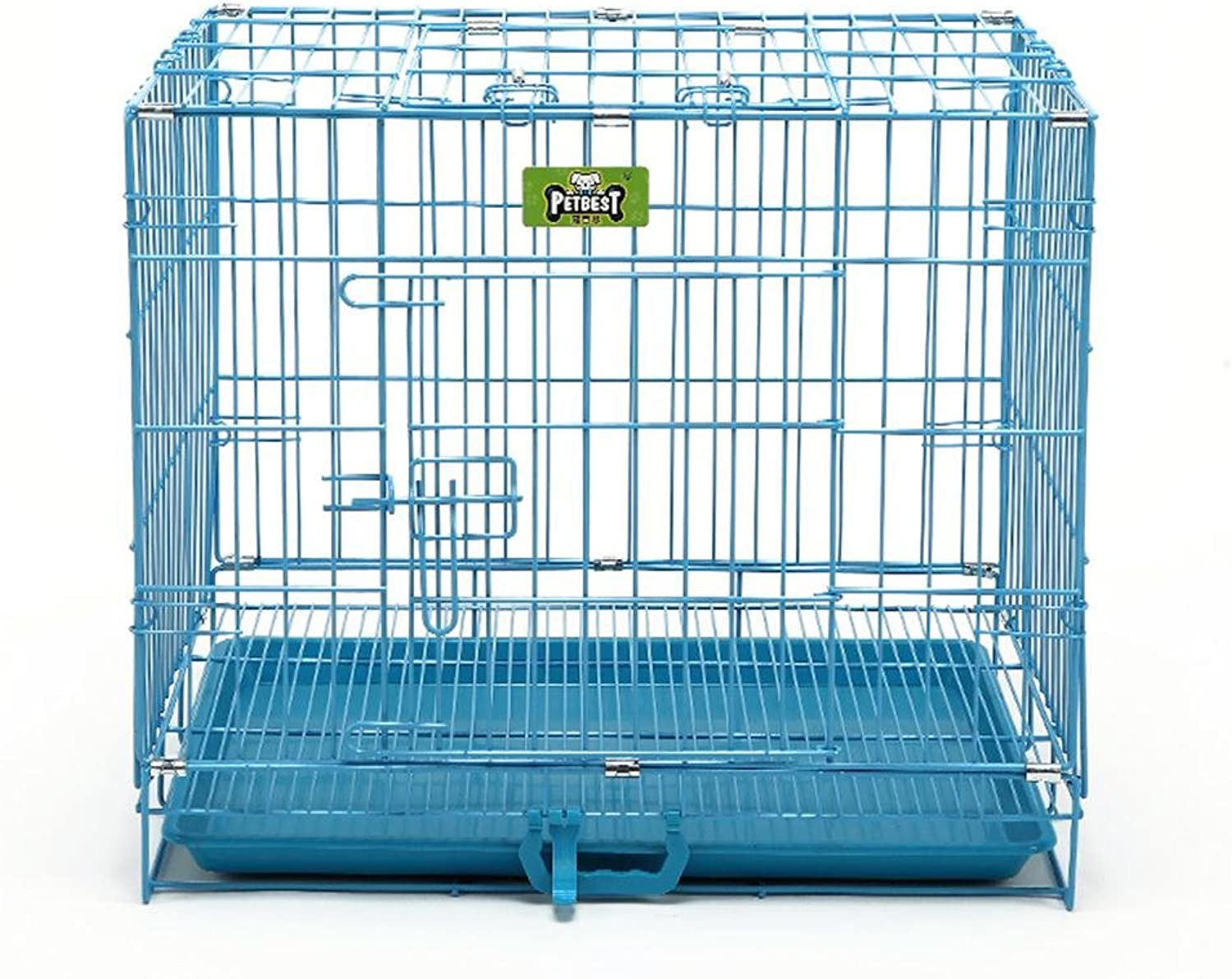 JiuErDP Dog cage cat cage Teddy small dog golden Retriever large dog iron cage fence rabbit cage dog fence folding pet dog cage (color   bluee, Size   S)