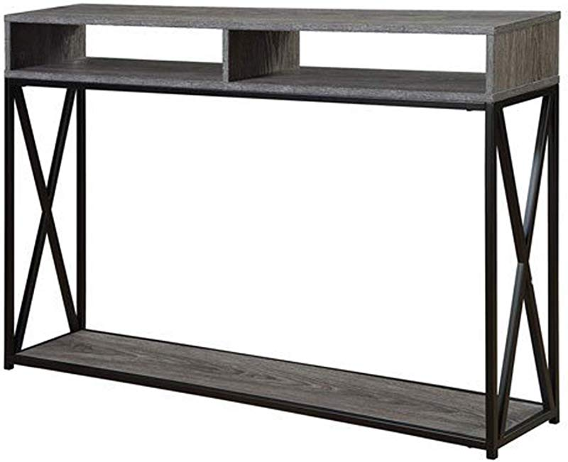Convenience Concepts Tucson Deluxe 2 Tier Console Table Weathered Gray Black