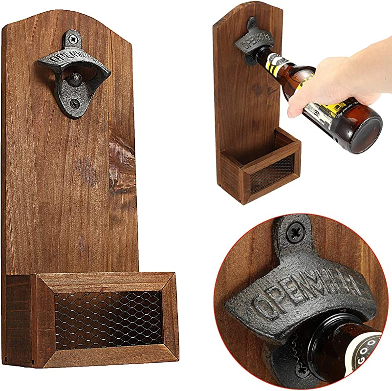 Janolia Bottle Opener Wooden Wall Beer Opener Mounted With Cap Catcher Vintage Style Gift For Father Friends
