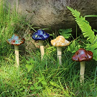 Danmu Garden Decor, 4pcs (Random Color) Ceramic Mushroom for Garden, Yard, Fairy Garden - Lawn Ornament Décor, Pottery Orn...
