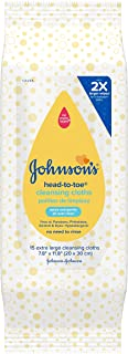 Johnson's Head-to-Toe Gentle Baby Cleansing Cloths, Hypoallergenic and Pre-Moistened Baby Bath Wipes, Free of Parabens, Ph...
