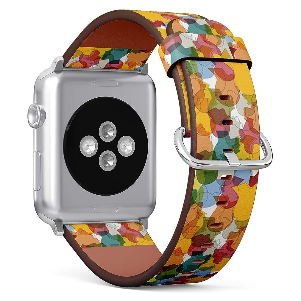 店員昼食シールコンパチブル Apple Watch iWatch 42mm & 44mm - 本革レザーストラップ, 向けのバンド交換ストラップです コンパチブル アップルウォッチ バンド (群衆の多くの異なる)