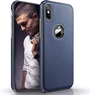 LOHASIC iPhone X Case & iPhone Xs Case, Thin Slim Luxury Leather Business PU Cover Soft Non-Slip Grip Flexible Bumper Shockproof Full Body Protective Phone Cases for iPhone X 10 Xs 5.8 inch (Blue)