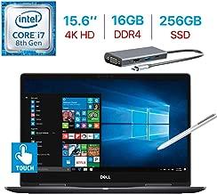 Dell 15.6-Inch 2-in-1 4K Ultra HD (3840 x 2160) Touch Laptop, Intel i7-8550U Processor NVIDIA GeForce MX130, Backlit Keyboard, Stylus Pen Windows 10 w/Type-C Hub (16GB DDR4 RAM/256GB SSD)