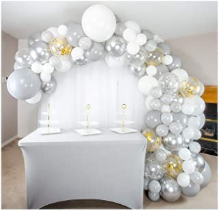 Shimmer and Confetti 155 Pack Premium DIY White, Silver, Gold and Gray Balloon Arch and Garland Kit with Metallic Silver a...